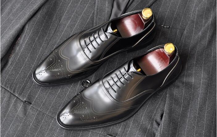 Mariage Marié Robe Cuir Main Coudre Derby De Richelieu Mans Chaussures Smart Casual Derbies Hommes En Noir Sculpté Véritable Richelieus À 8xaB4