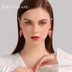 Image 5 - 육즙 포도 에나멜 국화 블루 라인 석 귀걸이 과장된 분위기 스터드 귀걸이 여성 성 귀걸이