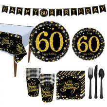 18/21/31/40/50th Black Gold Happy Birthday Party Tableware Sets Tablecloth Cups Plates Napkin Wedding Anniversary Supplies