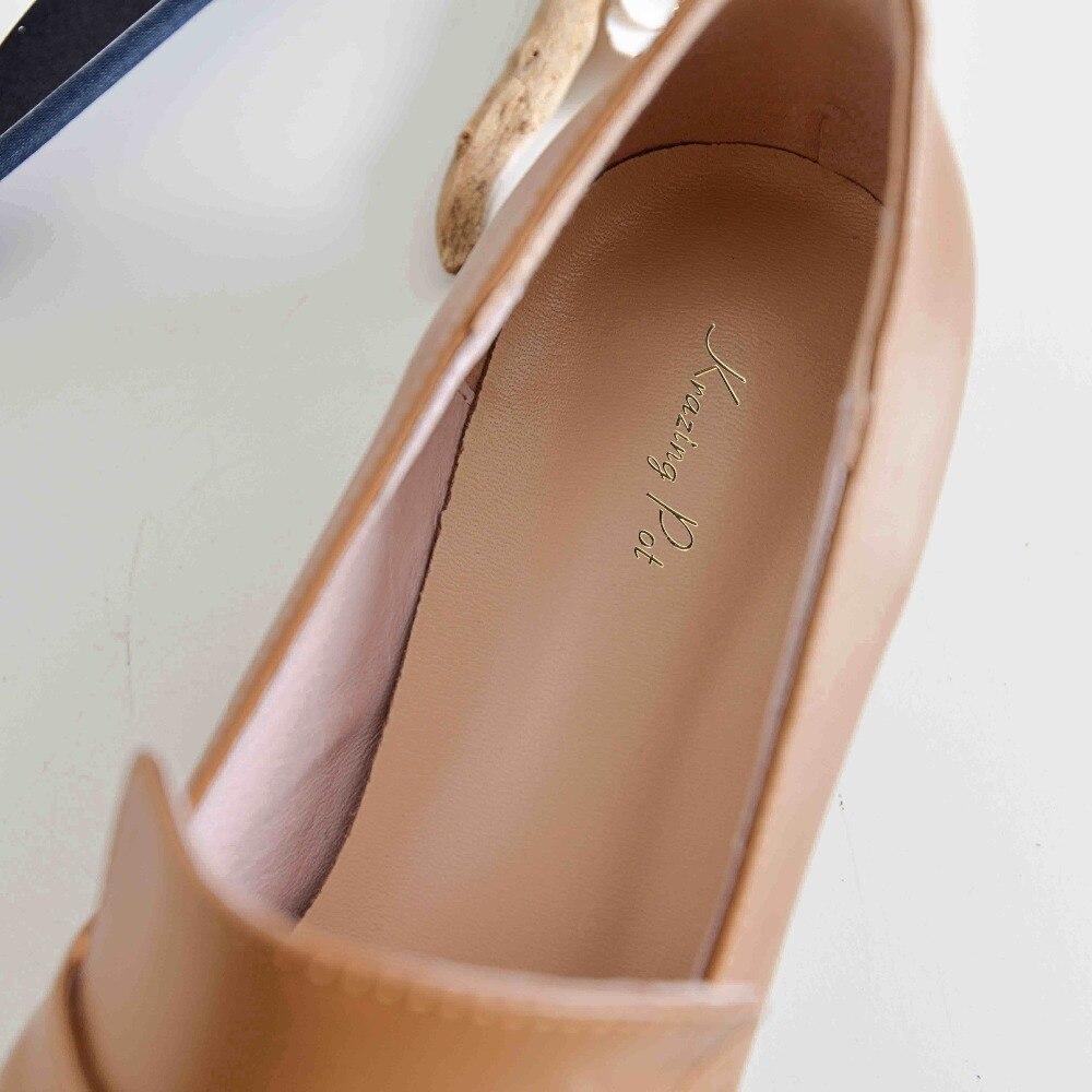 Krazing marron L73 De Talons Plus Apricot À Pot Fleur Perles Faible Pleine noir Chaussures Boucle Mode Cuir Rivets Enceintes En Circulaire Femmes Taille 80wnkOP