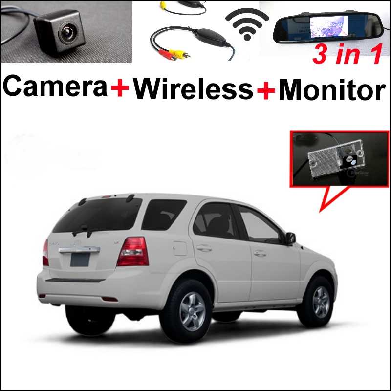 3 in1 Special Rear View Camera + Wireless Receiver + Mirror Monitor Back Up Parking System For KIA Rio K2 UB Hatchback 2011~2015 wireless pager system 433 92mhz wireless restaurant table buzzer with monitor and watch receiver 3 display 42 call button