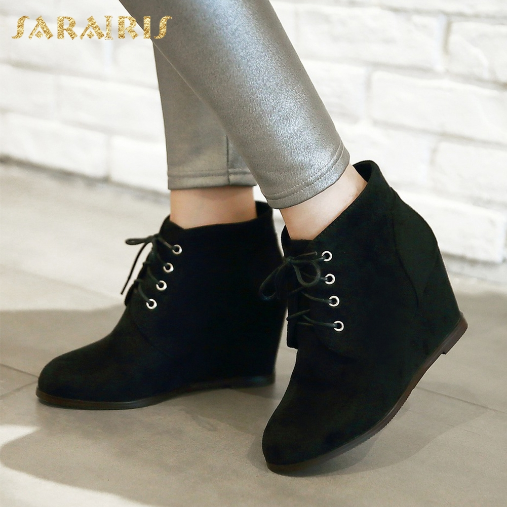 SARAIRIS 2018 Big Size 32-43 Ankle Boots Lace Up Wedge High Heels Pointed Toe OL womens Shoes Black Woman Booties ...