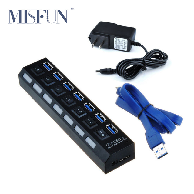 Super Speed 7 Порта Индивидуального Включения/Off Переключателями + USB 3.0 Hub Кабель для передачи данных + ЕС/США Адаптер Питания Для Ноутбуков Настольных ПК E17