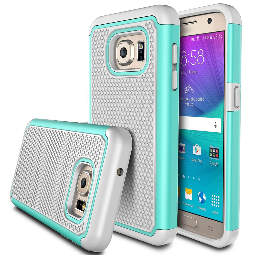 2 In 1 Heavy Duty Shockproof Samsung Galaxy S7 Egde Slim Rugged Rubber Acrylic Cover Back Protection Football Grain