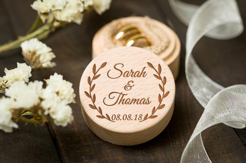 Personalized Bride Groom Ring Bearer Box Custom Wedding Party Jewelry Holder Box Wooden Box Wedding Gifts Party Accessories