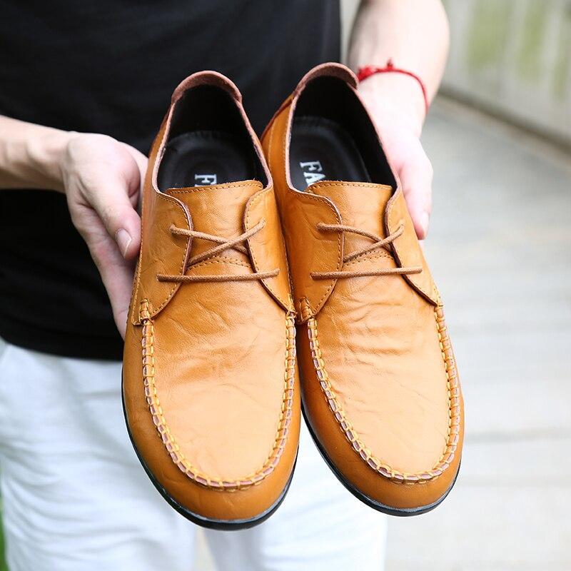 Mode Homme Lumière Jeune Hommes Décontractées Mâle Pilote yellow Mocassins Chaussures Garçon Pour Cuir Appartements Confortables Main En Black Poids SzZw4