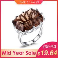 JewelryPalace Huge Unique Concave 20ct Genuine Natural Smoky Quartz Ring 925 Sterling Silver Jewelry Luxury Party Accessories