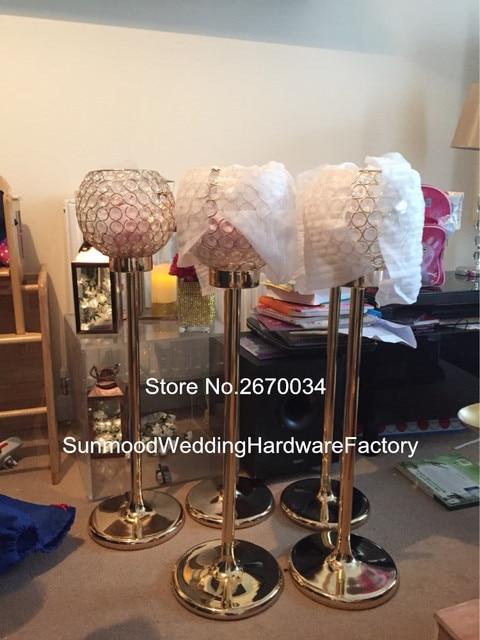 Gl Bead Pillar Candle Holders With Crystal Dimond Decoration For Wedding Aisle Decor