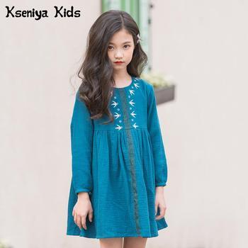 e45f40032 Kseniya niños grandes chicas adolescentes de 6 a 14 años bordado elegante  vestido de algodón vestidos de niña de las flores de la marca de ropa de  vestido ...