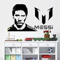 Free Shipping Vinyl Wall Sticker Messi Wall Sticker Home Decor DIY Vinyl Football Removable Sports Soccer