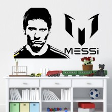 Free shipping Vinyl Wall Sticker Messi Home Decor DIY football Removable Sports Soccer Player