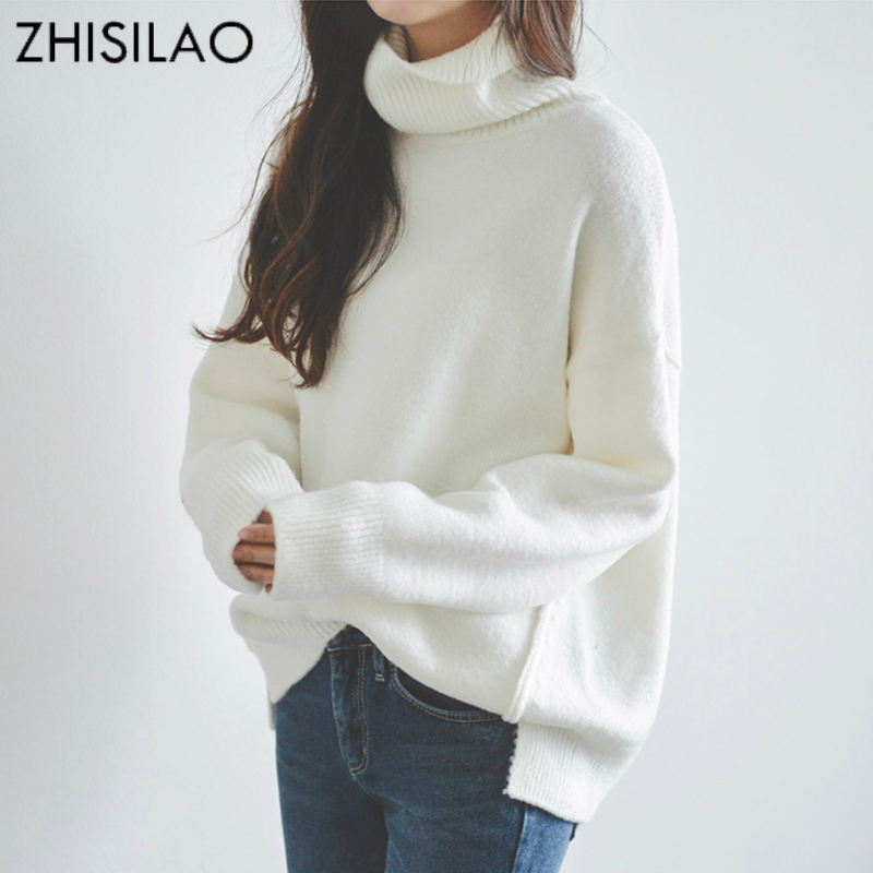 ZHISILAO Women Sweaters and Pullovers Plus Size Sweater Maxi Turtleneck Pull Femme Hiver Solid Long Sweater Femme Cashmere White