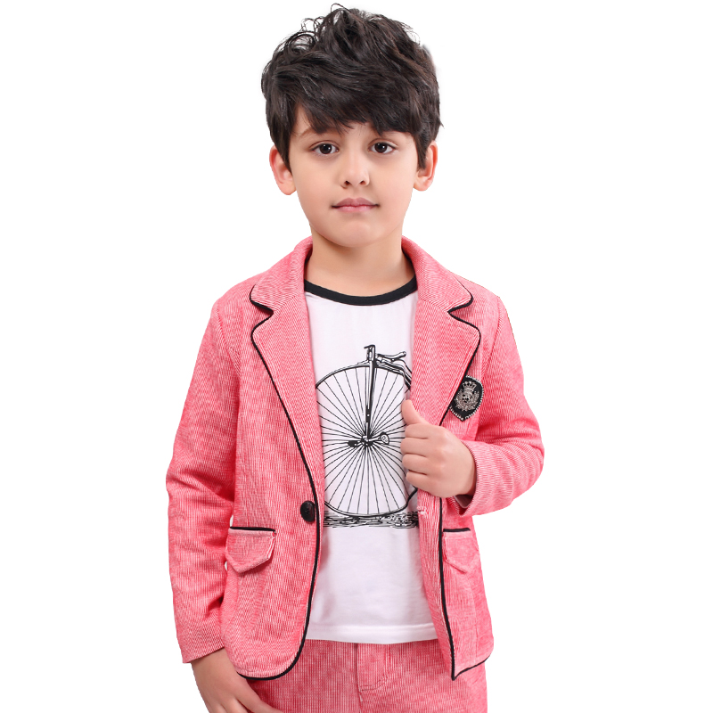 цена boys suit New Spring Autumn Teen Boys Single Breasted Blazers Casual Wedding Coat Jacket Children's Top Clothing Kids Clothes