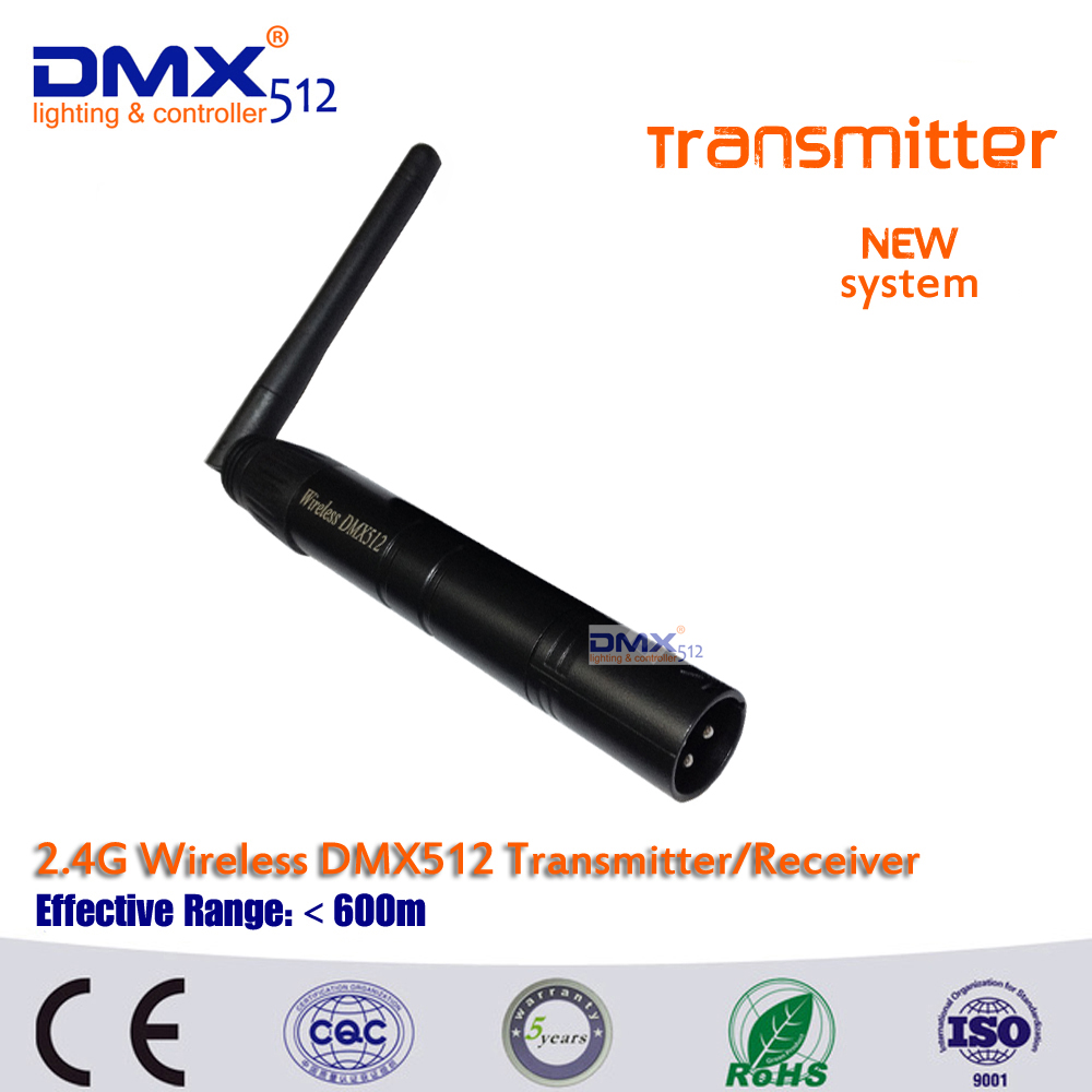 цены на Free shipping Wireless DMX512  Male XLR Transmitter 2.4G ISM DMX512 LED Lighting for Stage PAR Party Light with Antenna 2 in 1
