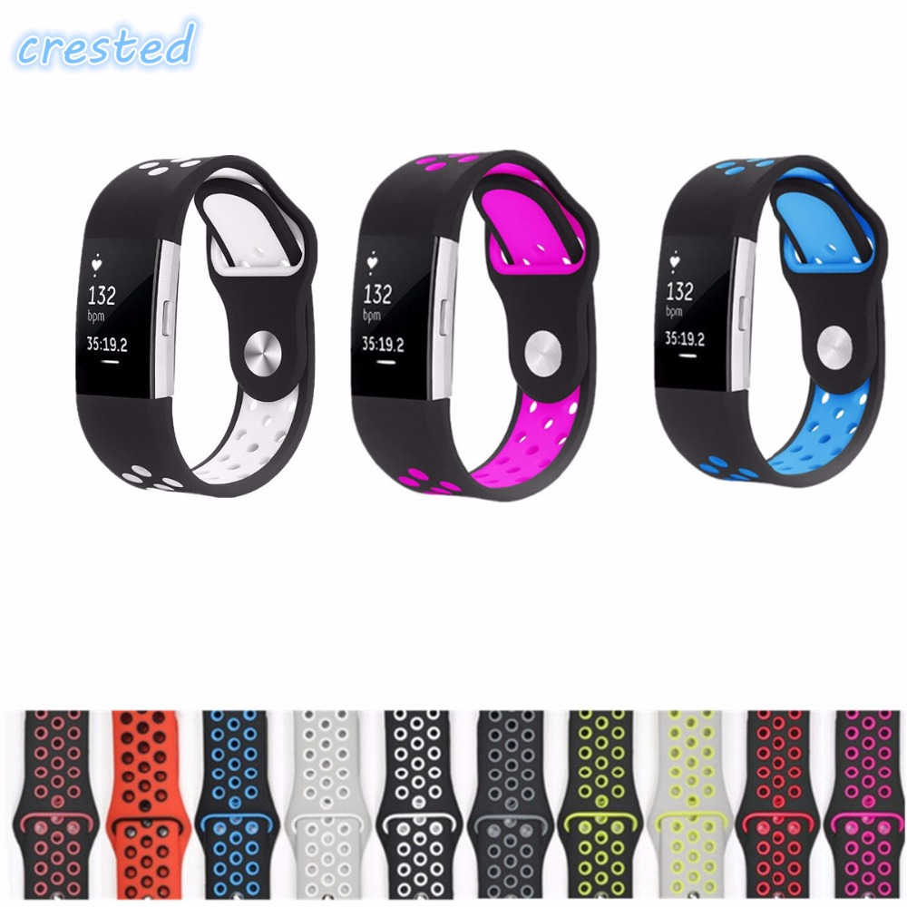 CRESTED sport watch band Strap for fitbit charge 2 band Silicone strap For nike Fitbit charge 2 bracelet smart wristbands crested stainless steel watch band for fitbit charge 2 bracelet smart watch strap for fitbit charge2 with connector