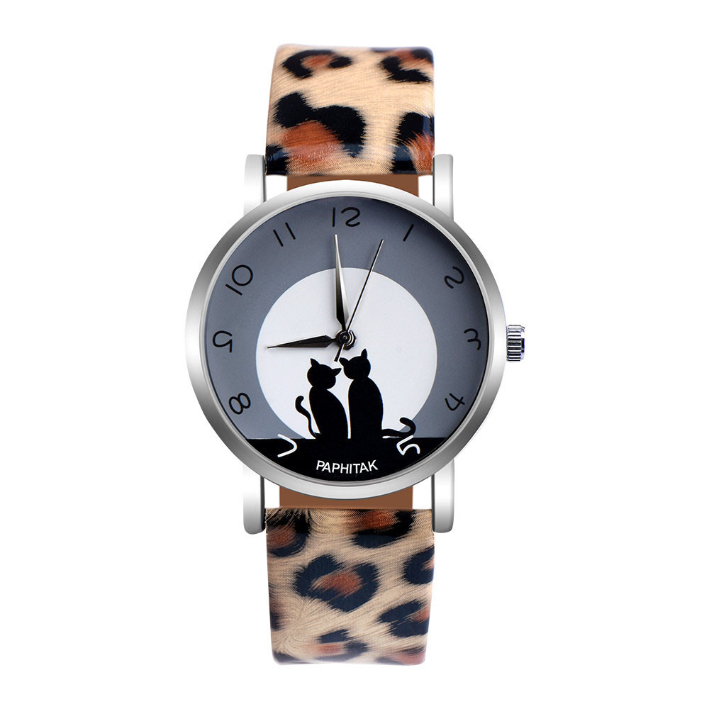 Womens Cute Cat Creative Design Leopard Faux Leather Analog Quartz Watch Ladies Dress Relogio Feminino Gifts Drop Shipping Q
