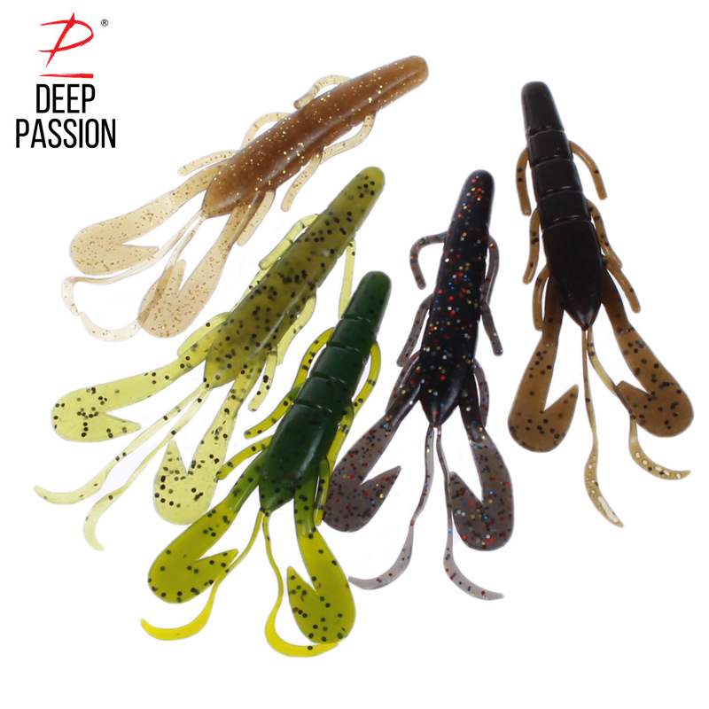 DEEP PASSION 5PC Fly Fishing Lure Kit Peche Silicone Soft Bait Set Fishing Lure Artificial Bait Fishing Carp Tackle Gear Lure