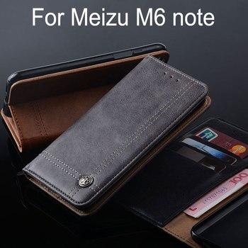 Dla m6 Meizu uwaga przypadku Luksusowe Skórzane klapki z Podstawką m6 Slot kart Vintage style Przypadki dla Meizu uwaga funda Bez magnes