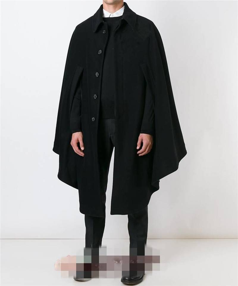 Mens Woolen Cashmere Cape Thicken Warm Shawl Coat Lapel Long Cloak Gothic Luxury Outwear Plus Size