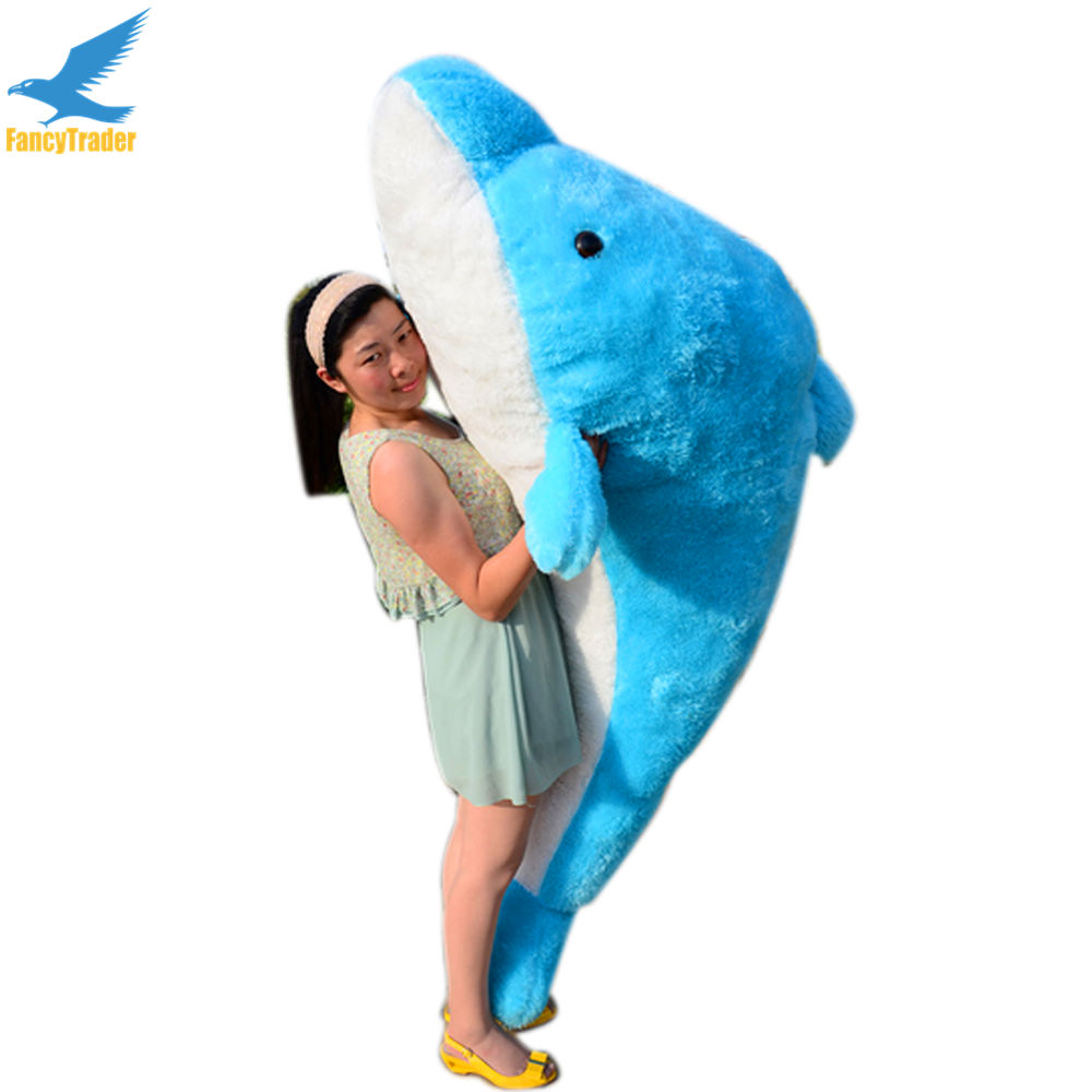 Fancytrader 79'' Lovely Super Soft Giant Stuffed JUMBO Dolphin Plush Toy 200cm, 2 Colors 2 Sizes Free Shipping FT50142 fancytrader 32 82cm soft lovely jumbo giant plush stuffed anpanman toy great gift for kids free shipping ft50630 page 7