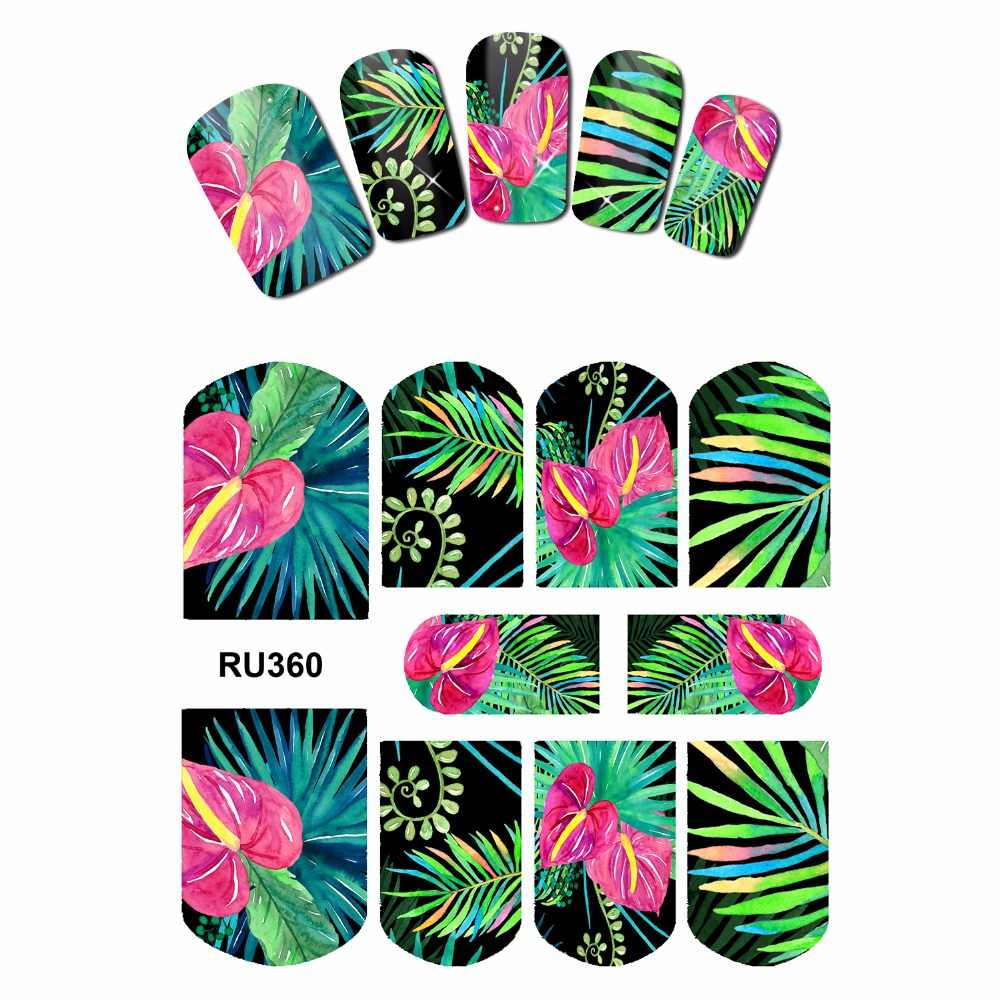 NAIL ART BEAUTY WATER STICKER DECAL SLIDER VOLLEDIGE COVER TROPISCHE BLOEM PLANTEN PALMBLAD ANTHURIUM ORCHIDEE RU355-360