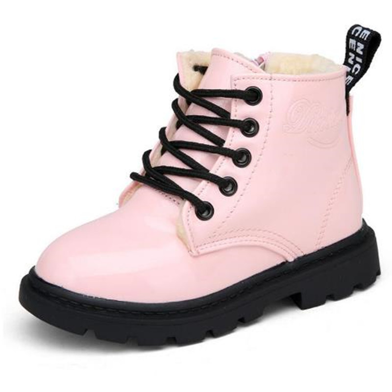 Children's Boots New Autumn Winter PU Leather Waterproof Martin Boot Kids Snow Boot Brand Girls Boys Rubber Boot Fashion Sneaker