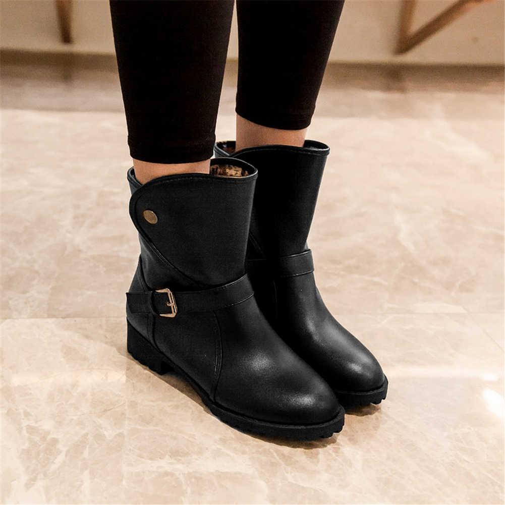 Bonjomarisa 2020 Thu Đông Size Lớn 34-43 Bán Phụ Nữ Phương Tây Cổ Chân Giày Thêm Lông Ấm Giày Nữ gót Thấp, Người Phụ Nữ