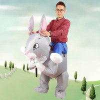 Inflatable Rabbit Costumes Blow Up Cosplay Funny Inflatable Costume Easter Mascot Party Dress for Adult