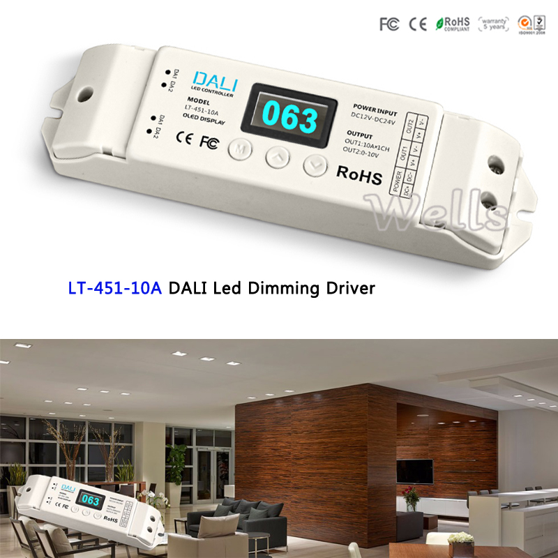 LTECH DALI Led Dimming Driver;LT-451-10A;DALI to PWM LED CV Dimming Driverfor led strip;DC12-24V input;10A*1CH output