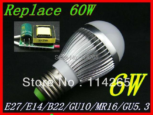 Dimmable E27 E14 B22 socket  6w 3X2W AC85-265V warm / cold white LED bubble ball bulb corn lights Fedex DHL