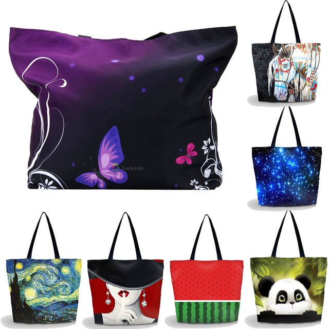Beach Tote Bags Travel Totes Bag Shopping Zippered Tote Shoulder Bag for  Women Foldable Washable Waterproof e155b0aa8ad1b