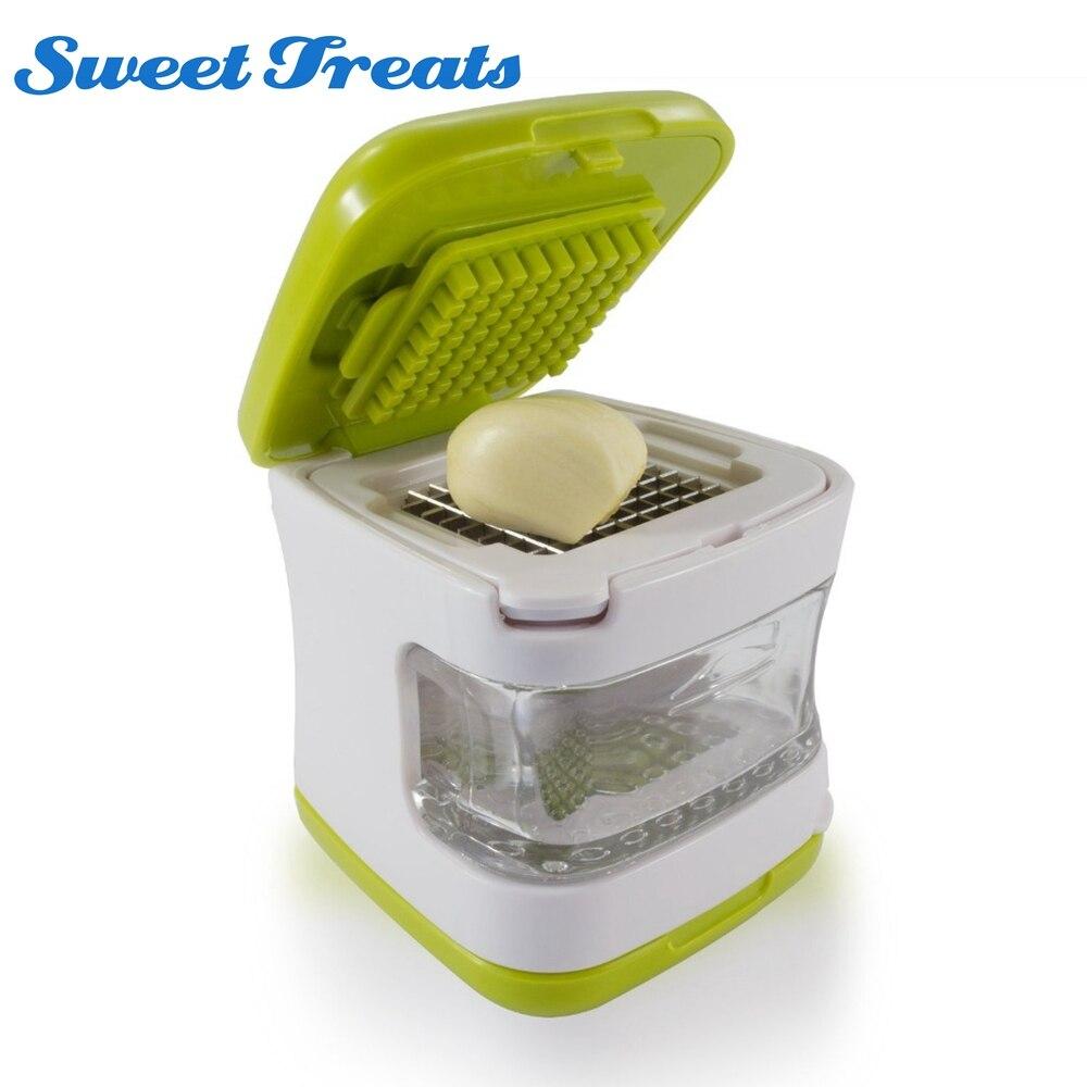 Sweettreats prensa de ajo cuchillas de acero inoxidable muy afiladas, bandeja de plástico transparente incorporada, Verde
