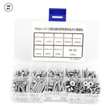 цена на 260Pcs #6-32 Stainless Steel Hex Socket Screw Flat Countersunk Cap Head Screws Nuts Assortment Kit stainless self tapping screws