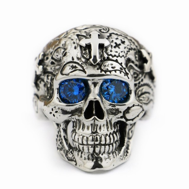 USA Located 925 Sterling Silver High Detail Skull Cross Blue CZ Eyes Mens Biker Ring TA56 4PX