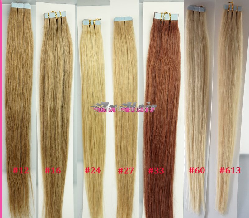 Tape Skin Weft Hair Extension Color24 Golden Blonde 16 24inch Soft