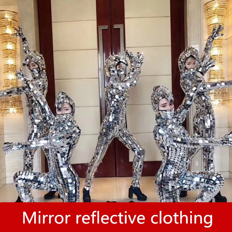 Elastic Mirror Costume Eyeglass Costume Cosplay mechanical dance props Mirror reflective costume for Party Show