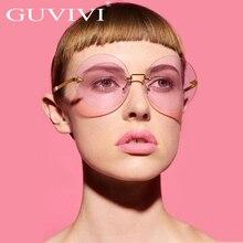 Diseñador de la marca de gafas de Sol Redondas Mujeres 2017 Rosa Claro Marco Sombra Retro Flecha de Metal Sin Montura Gafas de Sol Gafas de sol mujer