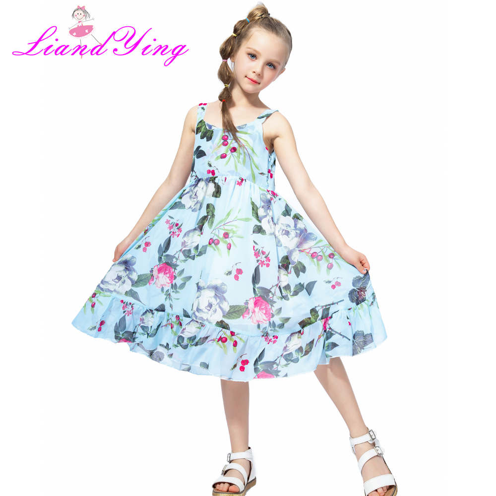 2018 Brand Bohemia Children Dress Girls Summer Floral Party Dresses Toddler Clothing Kids 7 10 12 Years Old Girls Dress For Baby summer dresses for girls party dress 100% cotton summer cool and refreshing the harness green flowered dress 1 5years old