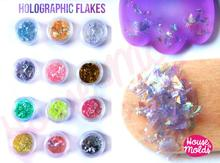 Holographic Flakes Set Of 12 ,Sparkly And With Amazing Special Effects For Resin Or Nail Art-12 Colors Flakes, HYT4@MJ
