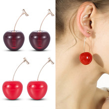 New Fashion 2019 Earrings Women Girls Resin Cute Round Dangle Red Cherry Fruit Earrings Jewelry Gift(China)