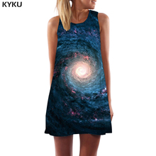KYKU Galaxy Space Dress Women Nebula Short Black Hole Ladies Dresses Vortex Beach Flame Party Womens Clothing Casual