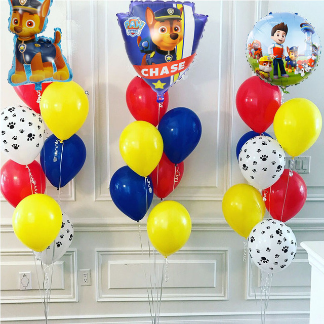 PAW PATROL 7pcs Pink Sky Chase black rose gold Heart Foil balloons Number Birthday Party decor Helium Globos kidToys baby shower