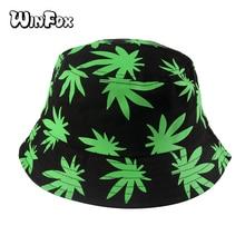 Winfox 2018 New Summer Green White Black Leaves Print Fisherman Hats Gorro Pescador Bucket Hat Hip Hop Men