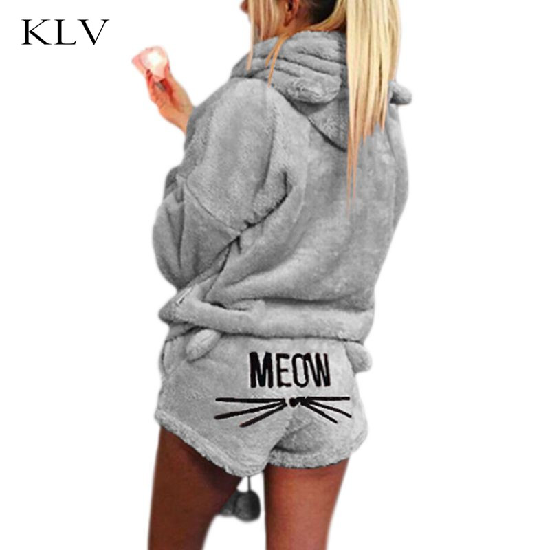 Women Girls Winter Thicken   Pajamas     Set   Cute Cat Meow Embroidered Short Pants Long Sleeve Hooded Ears Sweatshirt Warm Sleepwear
