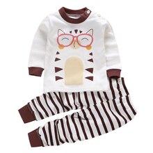 Новая весенне-Осенняя детская одежда, От 0 до 6 лет, хлопковые подштанники с длинными рукавами для малышей, комплект одежды для детей