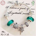Fashion European Famous Brand Gift Silver Jewelry Green Sea Animal Series 100% 925 Real Silver Charm Bracelet