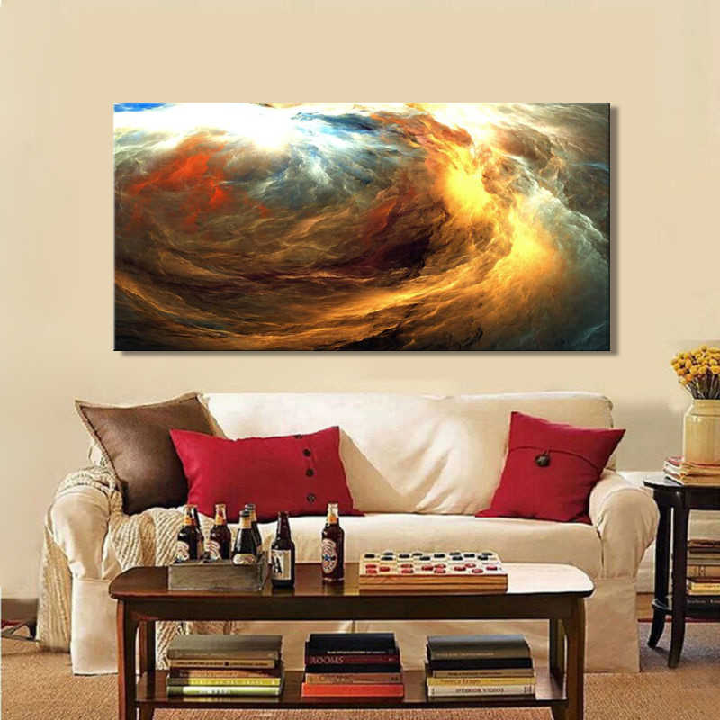 Modern Posters and Prints on Canvas Wall Art Oil Painting for Living Room Home Decor Creative Abstract Colorful Clouds Pictures