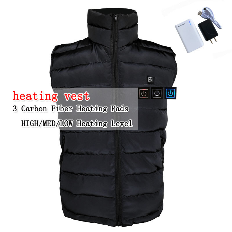 Electric heating heated down vest for skiing hiking camping winter men vest keep body warm for women and men With batteries new charging heated down vest man skiing vest winter warm down thick vest camping hiking keep body warm black s xxxl