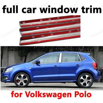 Car Styling Decoration Strips Stainless Steel With center pillar For V-olkswagen Polo full Window Trim car accessory