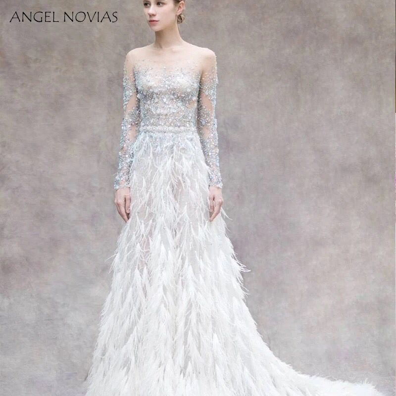 ANGEL NOVIAS Long Sleeve Crystals Woman Evening Dress 2018 with Feather Formal Elegant Party Gown abendkleider lang luxus